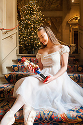 Chatsworth House Press Launch - Ballerina  Daisy Edwards as Clara from the Nutcracker sits on the stairs of the Painted Hall bringing to life the Christmas magic of Chatsworths Nutcracker themed Christmas Event<br /> <br />   04 October 2016<br />   Copyright Paul David Drabble<br />   www.pauldaviddrabble.photoshelter.com