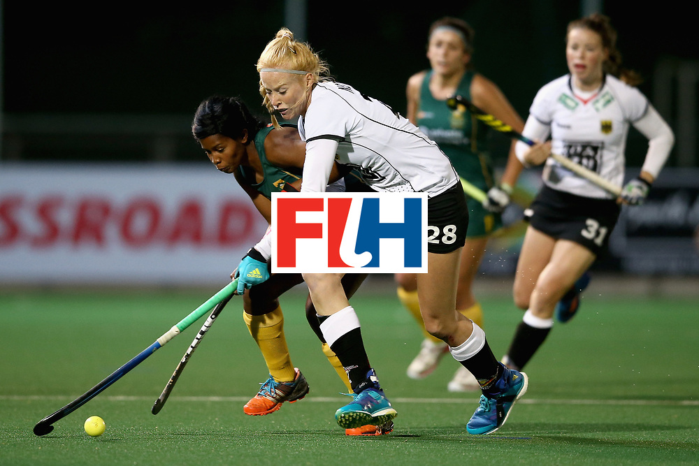 JOHANNESBURG, SOUTH AFRICA - JULY 18: Sulette Damons of South Africa and Nina Notman of Germany battle for possession during the Quarter Final match between Germany and South Africa during the FIH Hockey World League - Women's Semi Finals on July 18, 2017 in Johannesburg, South Africa.  (Photo by Jan Kruger/Getty Images for FIH)