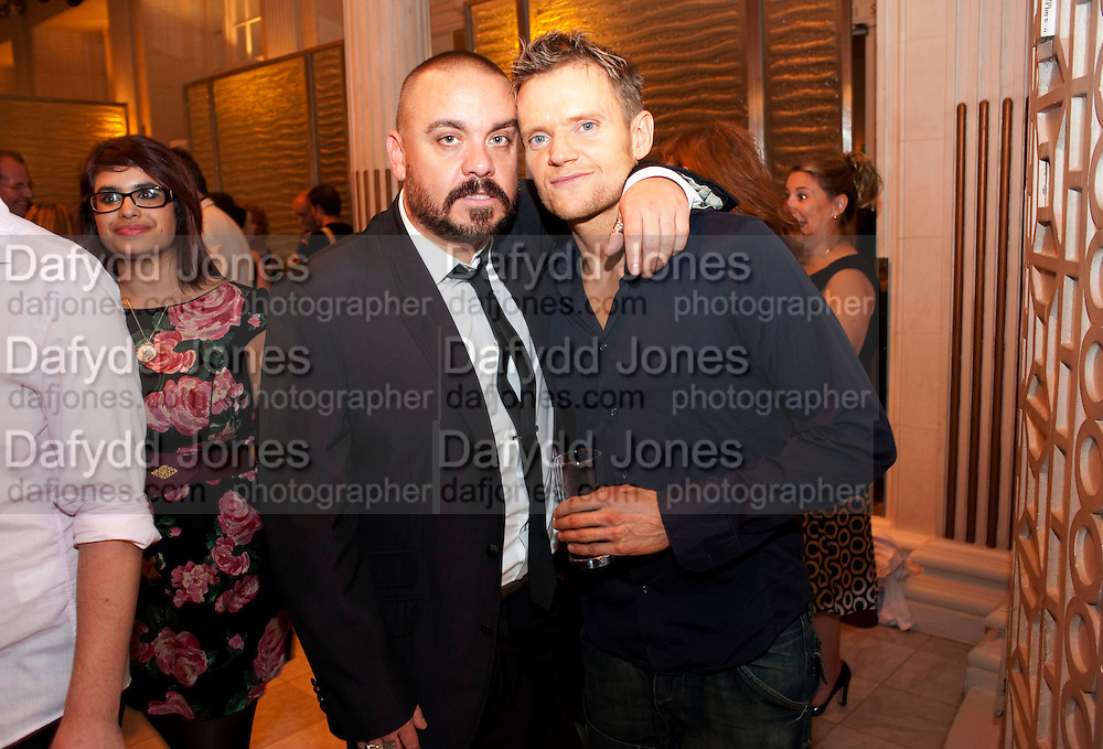 LEE BOARDMAN;; MARC WARREN, Aldwych theatre's Cool Hand Luke first night party. Waldorf Hilton. London. 3 October 2011. <br /> <br />  , -DO NOT ARCHIVE-&copy; Copyright Photograph by Dafydd Jones. 248 Clapham Rd. London SW9 0PZ. Tel 0207 820 0771. www.dafjones.com.