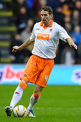 Blackpool Defender Kirk Broadfoot (SCO) in action during the first half of the match - Photo mandatory by-line: Rogan Thomson/JMP - Tel: Mobile: 07966 386802 26/01/2013 - SPORT - FOOTBALL - Molineux Stadium - Wolverhampton. Wolverhampton Wonderers v Blackpool - npower Championship.