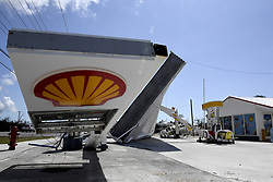 Hurricane Irma knocked many gas stations' aluminum awnings, such as this one at a Shell station along US1 in the lower Florida Keys, on Tuesday, September 12, 2017. Photo by Taimy Alvarez/Sun Sentinel/TNS/ABACAPRESS.COM