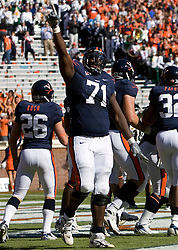 Virginia guard Branden Albert (71) celebrates after a UVA touchdown.  The #23 Virginia Cavaliers defeated the #24 Wake Forest Demon Deacons 17-16 at Scott Stadium in Charlottesville, VA on November 3, 2007.