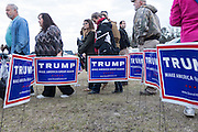 Supporters wait in line outside to see Billionaire and GOP presidential candidate Donald Trump at a rally January 27, 2016 in Lexington, South Carolina.