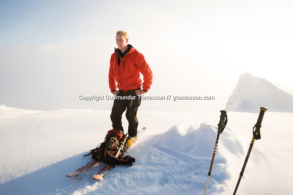 Arnar Felix Einarsson standing on top of mt. Haki, Tindfjöll mountain range, Iceland.