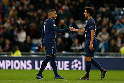 Kylian Mbappe of PSG and Marquinhos of PSG after UEFA Champions League match, groups between Real Madrid and Paris Saint Germain at Santiago Bernabeu Stadium in Madrid, Spain. November, Tuesday 26, 2019. Photo by Manu R.B./AlterPhotos/ABACAPRESS.COM