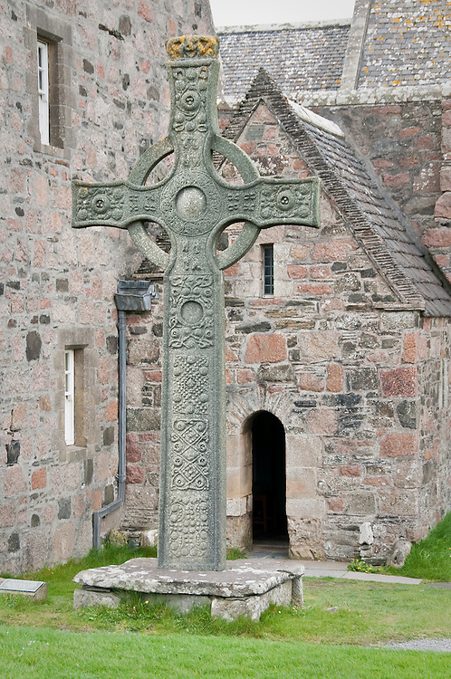 Celtic cross at Iona Abbey, Iona, Scotland