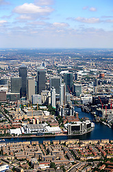 UK ENGLAND LONDON 22JUL08 - Aerial view of  the Docklands by the river Thames in east London during zeppelin flight over the city...jre/Photo by Jiri Rezac..© Jiri Rezac 2008..Contact: +44 (0) 7050 110 417.Mobile:  +44 (0) 7801 337 683.Office:  +44 (0) 20 8968 9635..Email:   jiri@jirirezac.com.Web:    www.jirirezac.com..© All images Jiri Rezac 2008 - All rights reserved.