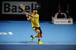 October 30, 2016 - Basel, Basel, Switzerland - Kei Nishikori (JPN) during the final of the Swiss Indoors at St. Jakobshalle in Basel, Switzerland on October 30, 2016. (Credit Image: © Miroslav Dakov/NurPhoto via ZUMA Press)