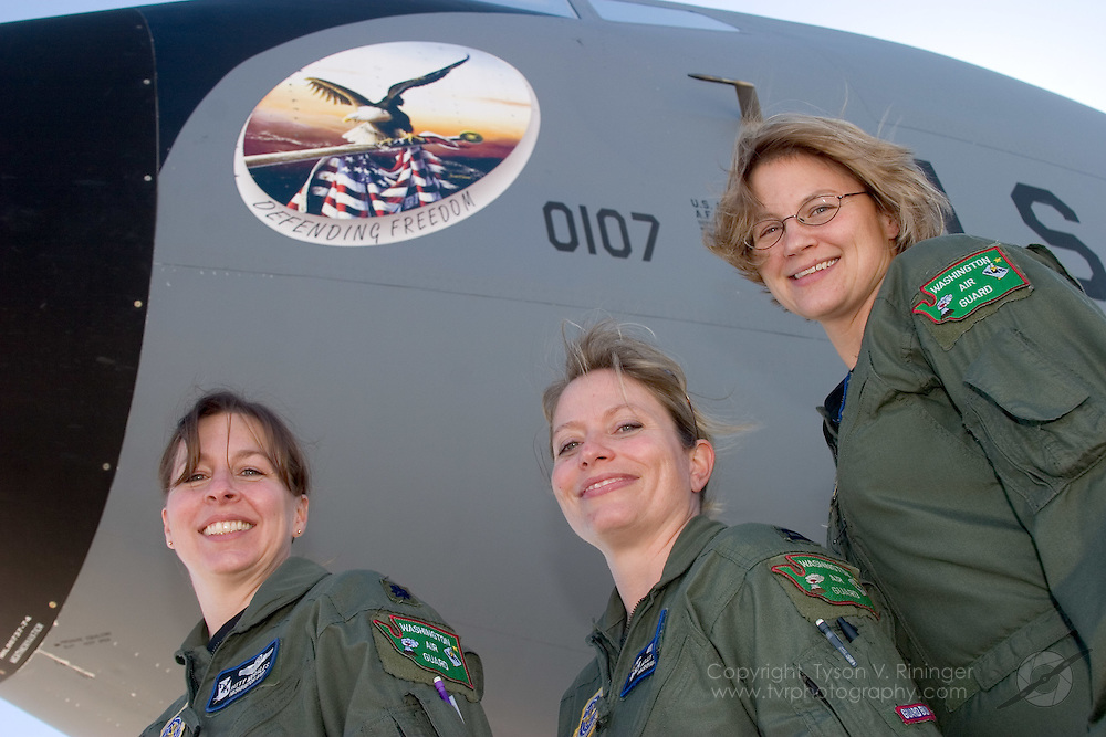 LtCol Patricia Morales, Capt Molly Marshall and MSgt Sheri Shaw made up the first all-female KC-135R flight crew for the Washington ANG 141ARW on 30 January 2006. Jokingly called the squadron's first 'Unmanned' refueling mission, the crew made up Anchor Two-Five tending to F-16's from the 388th Wing's 427th Squadron from Hill Air Force Base.