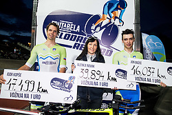 Igor Kopse with new record 47,499 km, Alenka Novak with her personal best 39,894 km and Jon Bozic with his personal best 46.037 km after setting Slovenian One Hour Cycling Record at Cesca vas Velodrome on June 1, 2016 in Novo mesto, Slovenia. Photo by Vid Ponikvar / Sportida