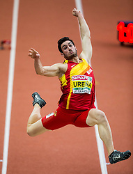 Jorge Ureña of Spain competes in the Heptathlon Long Jump Men on day two of the 2017 European Athletics Indoor Championships at the Kombank Arena on March 4, 2017 in Belgrade, Serbia. Photo by Vid Ponikvar / Sportida