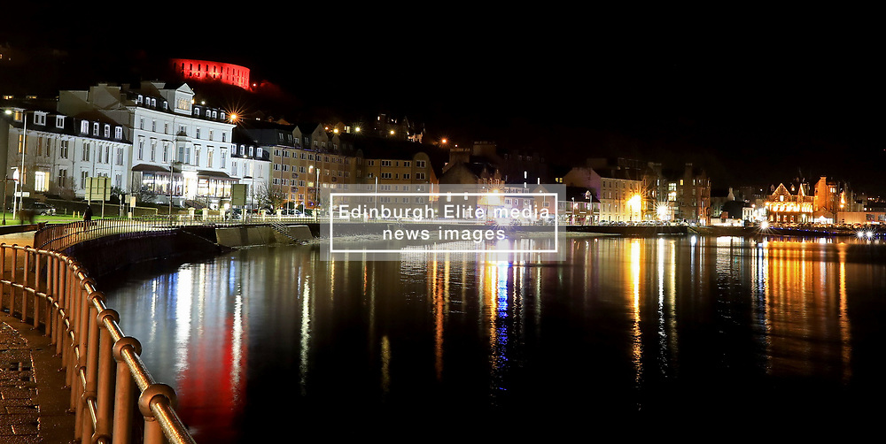 McCaig's Tower in Oban illuminated red in support of the Scottish Poppy Appeal.. .. (c) Stephen Lawson | Edinburgh Elite media