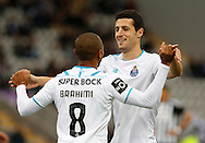 Portugal, FUNCHAL : Porto's French midfielder Brahimi celebrates after scoring a goal  during the Portuguese league football match Nacional vs F.C. Porto at the Madeira stadium in Funchal on December 13, 2015.  LUSA / GREGORIO CUNHA