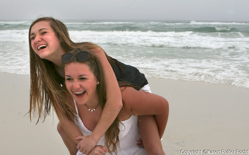 Portraits of female teens  on the beach. Model Release