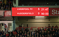 LIVERPOOL, ENGLAND - Friday, April 26, 2019: Liverpool's scoreboard records 5-0 victory over Huddersfield Town during the FA Premier League match between Liverpool FC and Huddersfield Town AFC at Anfield. (Pic by David Rawcliffe/Propaganda)