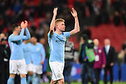 Kevin De Bruyne (17) of Manchester City celebrates at full time after the 3-0 win over Arsenal during the EFL Cup Final match between Arsenal and Manchester City at Wembley Stadium, London, England on 25 February 2018. Picture by Graham Hunt.