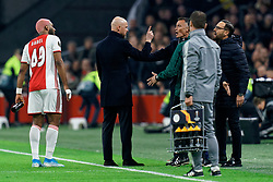 Coach Erik Ten Hag in discuss with coach Jose Bordalas during the Europa League match R32 second leg between Ajax and Getafe at Johan Cruyff Arena on February 27, 2020 in Amsterdam, Netherlands