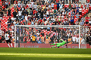 Jack Holland of Bromley FC (6) misses his penalty during the penalty shoot out of the FA Trophy match between Brackley Town and Bromley at Wembley Stadium, London, England on 20 May 2018. Picture by Stephen Wright.