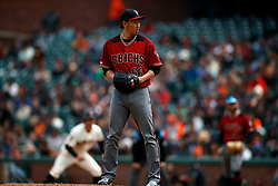 SAN FRANCISCO, CA - MAY 26: Yoshihisa Hirano #66 of the Arizona Diamondbacks stands on the pitchers mound during the seventh inning against the San Francisco Giants at Oracle Park on May 26, 2019 in San Francisco, California. The Arizona Diamondbacks defeated the San Francisco Giants 6-2. (Photo by Jason O. Watson/Getty Images) *** Local Caption *** Yoshihisa Hirano