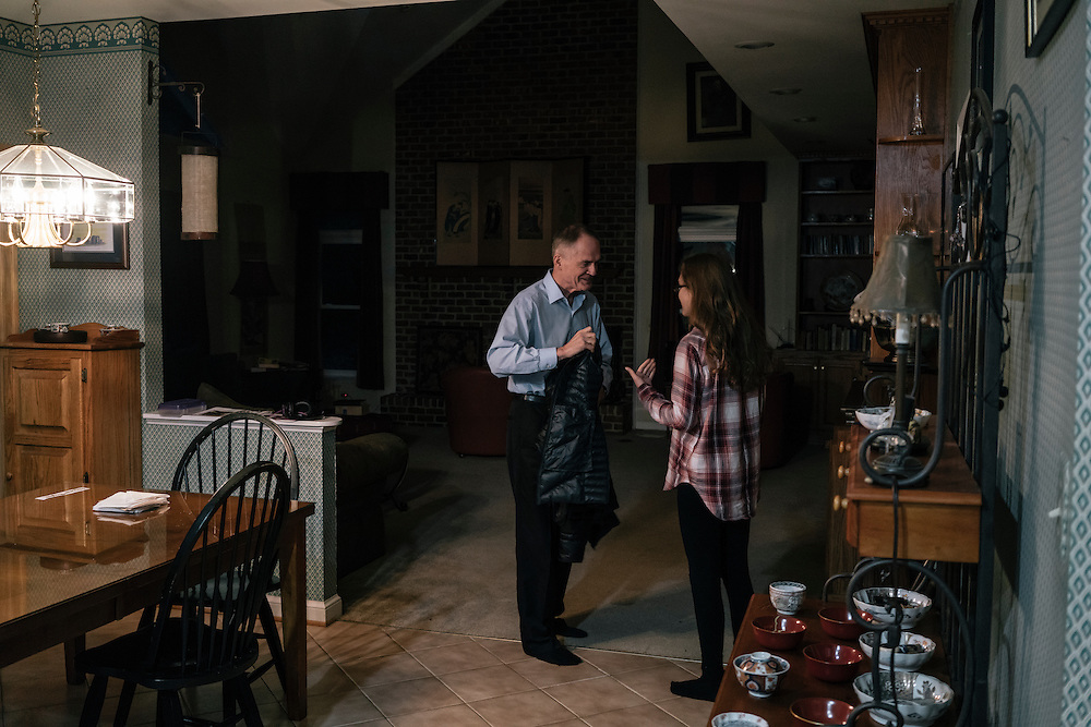 Jared Taylor, editor of the white nationalist publication American Renaissance and a member of the so-called alt-right, a far-right fringe movement that embraces white nationalism and a range of racist and anti-immigrant positions, readies his daughter for school at his home in Virginia on Dec. 5, 2016.