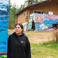 """Mayuk Manuel  """"Tiny Houses"""" being built by First Nations in Secwepemc territory to protest Kinder Morgans proposed construction of the Trans Mountian pipeline twinning. They plan to build ten tiny homes to be placed along and block construction of the pipeline route through Secwepemc territory. Begun by the Mayuk Manuel and her twin sister Kanahus, and with support from Mayuk's partner Isha Jules, they call themselves the Tiny House Warriors. PLEASE NOTE. NOT MODEL RELEASED. please contact those photographed for permission to publish."""