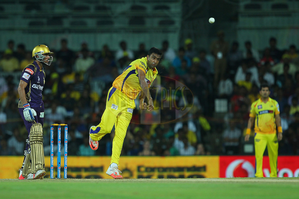 Ravichandran Ashwin of the Chennai Superkings  during match 28 of the Pepsi IPL 2015 (Indian Premier League) between The Chennai Superkings and The Kolkata Knight Riders held at the M. A. Chidambaram Stadium, Chennai Stadium in Chennai, India on the 28th April 2015.<br /> <br /> Photo by:  Ron Gaunt / SPORTZPICS / IPL