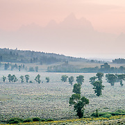 Wildfire smoke infiltrates the Teton Range of Grand Teton National Park.