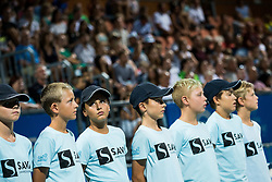 Ballboys at Trophy ceremony after the Final Singles match during Day 9 of ATP Challenger Zavarovalnica Sava Slovenia Open 2018, on August 11, 2018 in Sports centre, Portoroz/Portorose, Slovenia. Photo by Vid Ponikvar / Sportida