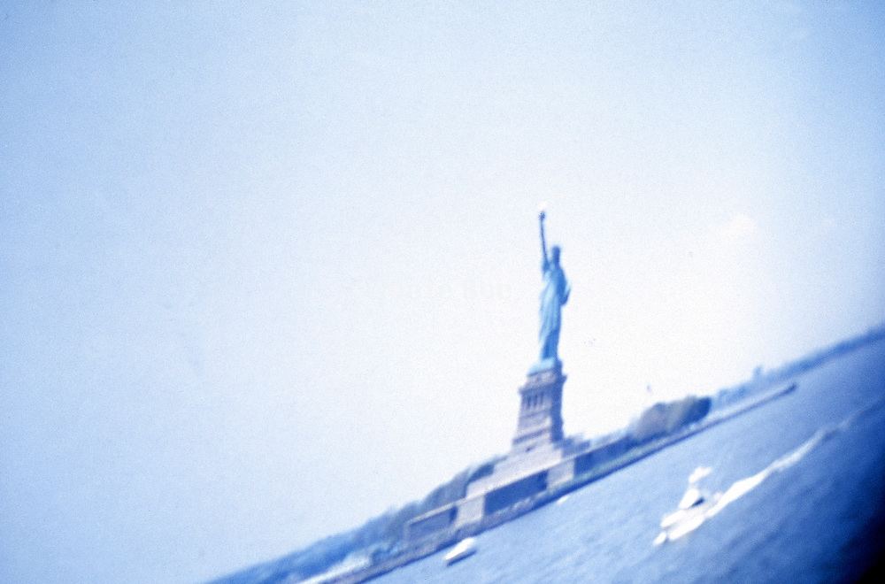 A distorted image of the Statue of Liberty. New York NY.