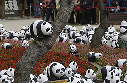 61101611<br /> Paper-made pandas are displayed at the Taipei International Flora Expo Park in Taipei, southeast China's Taiwan, Feb. 21, 2014, as an effort to promote people s awareness of protecting the endangered animals Friday 21st February 2014. Picture by  imago / i-Images<br /> UK ONLY