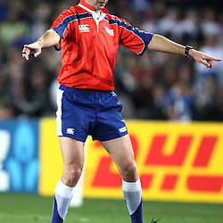 AUCKLAND, NEW ZEALAND - OCTOBER 01,Referee Craig Joubert SARU during the 2011 IRB Rugby World Cup match between England and Scotland at Eden Park on October 01, 2011 in Auckland, New Zealand<br /> Photo by Steve Haag / Gallo Images