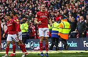 Ryan Yates of Nottingham Forest celebrates the goal during the EFL Sky Bet Championship match between Nottingham Forest and Derby County at the City Ground, Nottingham, England on 9 November 2019.