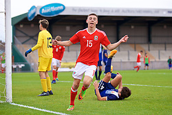 NEWPORT, WALES - Sunday, September 24, 2017: Wales' Callum King-Harmes celebrates scoring the fourth goal during an Under-16 International friendly match between Wales and Gibraltar at the Newport Stadium. (Pic by David Rawcliffe/Propaganda)