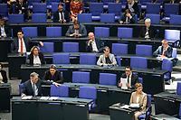 """25 MAR 2020, BERLIN/GERMANY:<br /> Um das Abstandsgebot zu beachten, ist nur jder dritte Platz in den Abgeordnentenreihen besetzt, hier die SPD Fraktion, Bundestagsdebatte zu """"COVID 19 - Kreditobergrenzen, Nachtragshaushalt, Wirtschaftsfonds"""", Plenum, Reichstagsgebaeude, Deutscher Bundestag<br /> IMAGE: 20200325-01-011<br /> KEYWORDS: Pandemie, Corona, Sitzung, Debatte"""