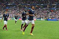 Fotball<br /> Privatlandskamp<br /> Frankrike v Spania 1:0<br /> 04.09.2014<br /> Foto: Panoramic/Digitalsport<br /> NORWAY ONLY<br /> <br /> oie de Loic Remy apres son but - Moussa Sissoko - Lucas Digne (France)