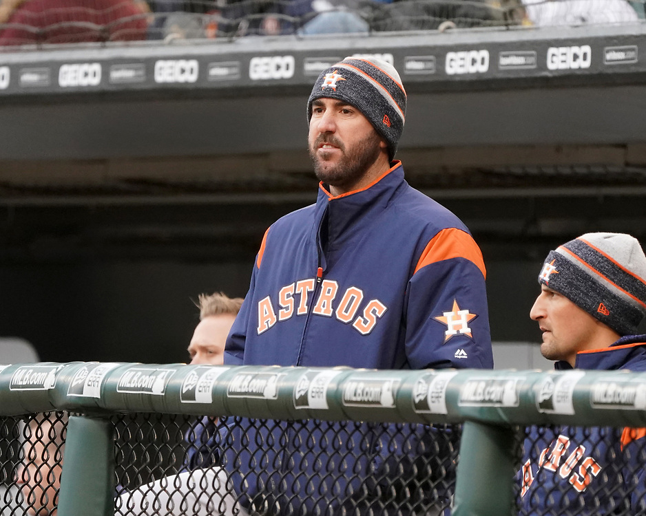 CHICAGO - April 21:  Justin Verlander #35 of the Houston Astros looks on against the Chicago White Sox on April 21, 2018 at Guaranteed Rate Field in Chicago, Illinois.  (Photo by Ron Vesely)   Subject:   Justin Verlander