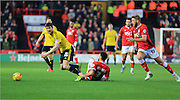 David Nugent, Derrick Williams, Nathan Baker during the Sky Bet Championship match between Bristol City and Middlesbrough at Ashton Gate, Bristol, England on 16 January 2016. Photo by Daniel Youngs.