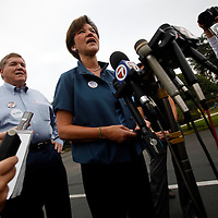 THONOTOSASSA, FL -- November 2, 2010 -- Democratic candidate for governor Alex Sink arrives to vote at her hometown polling place in Thonotasassa, Fla., on Mid Term Election Day on Tuesday, November 2, 2010.  Sink is running a tight race against Republican Rick Scott.