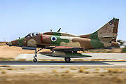 Israeli Air Force (IAF) Mcdonnell-Douglas A-4 Skyhawk (Ayit) fighter jet at takeoff