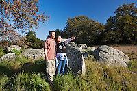 Male and Female Asian-American Hikers Looking at Scenery, Santa Rosa Plateau Ecological Reserve, Riverside County, California