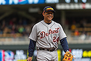 Miguel Cabrera #24 of the Detroit Tigers smiles during a game against the Minnesota Twins on April 3, 2013 at Target Field in Minneapolis, Minnesota.  The Twins defeated the Tigers 3 to 2.  Photo: Ben Krause