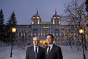 Portrait of Robert Schlup and Heinz Bloch of Sonneschein at the Kempinski Grand Hotel St Moritz Switzerland <br /> Tel 0044 07947 884 517<br /> www.linkphotographers.com<br /> www.linkphotographers.com