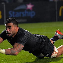 Liam Messam scores during the 2017 DHL Lions Series rugby union match between the NZ Maori and British & Irish Lions at Rotorua International Stadium in Rotorua, New Zealand on Saturday, 17 June 2017. Photo: Dave Lintott / lintottphoto.co.nz