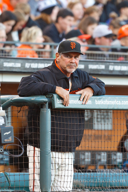 SAN FRANCISCO, CA - JULY 30: Bruce Bochy #15 of the San Francisco Giants stands in the dugout before the game against the New York Mets at AT&T Park on July 30, 2012 in San Francisco, California. The New York Mets defeated the San Francisco Giants 8-7 in 10 innings. (Photo by Jason O. Watson/Getty Images) *** Local Caption *** Bruce Bochy