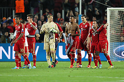 01.05.2013, Camp Nou, Barcelona, ESP, UEFA CL, FC Barcelona vs FC Bayern Muenchen, Halbfinale, Rueckspiel, im Bild Freude beim Schlusspfiff, von links LUIZ GUSTAVO #30 (FC Bayern Muenchen), Mario MANDZUKIC #9 (FC Bayern Muenchen), Manuel NEUER #1 (FC Bayern Muenchen), Jerome BOATENG #17 (FC Bayern Muenchen), Daniel VAN BUYTEN #5 (FC Bayern Muenchen), Franck RIBERY #7 (FC Bayern Muenchen) und David ALABA #27 (FC Bayern Muenchen), // during the UEFA Champions League 2nd Leg Semifinal Match between Barcelona FC and FC Bayern Munich at the Camp Nou, Barcelona, Spain on 2013/05/01. EXPA Pictures © 2013, PhotoCredit: EXPA/ Eibner/ Christian Kolbert..***** ATTENTION - OUT OF GER *****