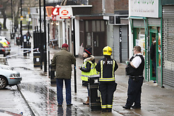 © Licensed to London News Pictures. 04/03/2018. Harold Hill, UK. The scene at Harold Hill Post Office where emergency services are currently responding to an explosion near a row of shops. Nearby homes have been evacuated. Photo credit: Peter Macdiarmid/LNP