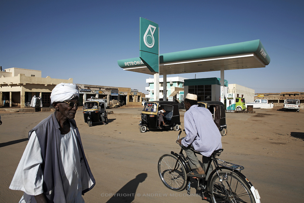 A Petronas petrol station in Karima, pictured on Wednesday, March 28, 2007. Malaysian firm Petronas (Petroleum Nasional Berhad) have a heavy presence in Sudan and hold a 30% stake in the Greater Nile Petroleum Operating Company (GNPOC), the largest petroleum company in Sudan.