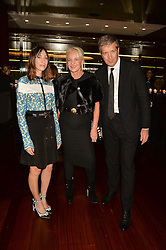 Left to right, GIA COPPOLA, AMANDA ELIASCH and TOM MEGGLE at a dinner hosted by Liberatum to honour Francis Ford Coppola held at the Bulgari Hotel & Residences, 171 Knightsbridge, London on 17th November 2014.