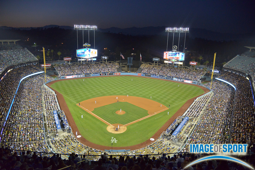 Jun 18, 2015; Los Angeles, CA, USA: General view of the MLB game between the Texas Rangers and Los Angeles Dodgers at Dodger Stadium.