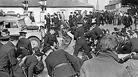 RUC clash with People's Democracy marchers in Lurgan, Craigavon, N Ireland, 4th April 1969. PD members, taking part in an Easter weekend Belfast-Dublin march, were attempting to march through the town centre and police wanted to divert them away from loyalists in another part of the town. 196904040148<br /> <br /> Copyright Image from Victor Patterson, 54 Dorchester Park, Belfast, UK, BT9 6RJ<br /> <br /> t1: +44 28 9066 1296<br /> t2: +44 28 9002 2446<br /> m: +44 7802 353836<br /> <br /> e1: victorpatterson@me.com<br /> e2: victorpatterson@gmail.com<br /> <br /> IMPORTANT: My Terms and Conditions of Business are at www.victorpatterson.com